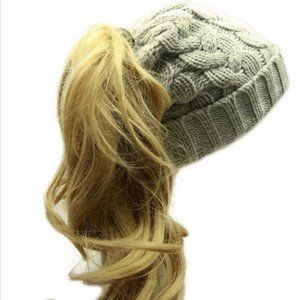 Cable knit ponytail beanie in heather grey